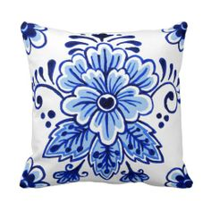 Chic Vintage Dutch Delft Blue Floral Pattern Throw Pillows