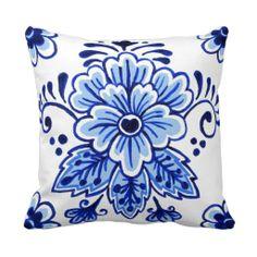 Chic Vintage Dutch Delft Blue Floral Pattern Throw Pillows