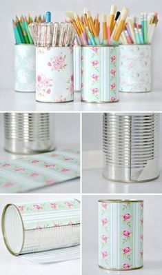 tin can projects, several pencil cases made from tins, decorated with floral paper in pastel colors, containing pencils brushes and pens