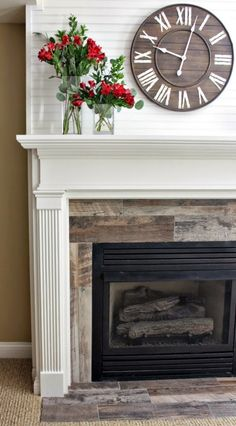 fireplace makeover - white beadboard, traditional mantel, distressed wood tiles - Home Projects We Love Basement Fireplace, Fireplace Update, Fireplace Built Ins, Concrete Fireplace, Home Fireplace, Farmhouse Fireplace, Fireplace Remodel, Fireplace Surrounds, Faux Fireplace