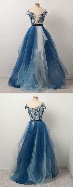 A-Line Off-The-Shoulder Tulle Long Prom Dress #promdress #promdresses #longpromdresses #eveningdress #eveningdresses