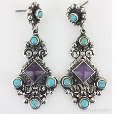 TAXCO VINTAGE DESIGN 925 AMETHYST TURQUOISE EARRINGS | Mexico Sterling Silver