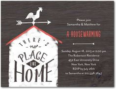 There's No Place Like Home! Our new housewarming party invitation postcard.
