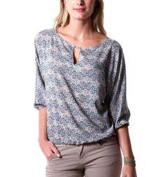 Blusa estampada - Estampado azul - Camisetas - Mujer - Promod