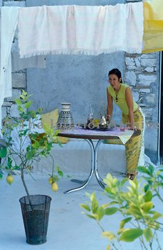 Designer Carolyn Quartermaine on the roof terrace of her home in the south of France