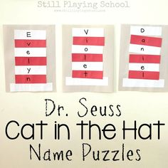 Seuss Cat in the Hat Name Puzzle Craft Dr. Seuss Cat in the Hat Name Puzzle Craft,Dr. Seuss Cat in the Hat Name Puzzle Craft Dr. Seuss, Dr Seuss Name, Dr Seuss Week, Puzzle Crafts, Name Crafts, Preschool Projects, Classroom Crafts, Classroom Ideas, Preschool Ideas