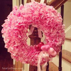 Dollar store craft Valentine's Day cupcake liner wreath by AttaGirlSays