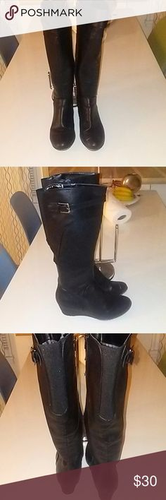 matt black knee high boots 7, wedge heel 2'' Matt black knee high boots 7, wedge heel 2''. Side zipper that runs all the way  through. Shoes Ankle Boots & Booties