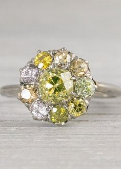 ANTIQUE .80 YELLOW DIAMOND EDWARDIAN CLUSTER ENGAGEMENT RING, $7,500, ERSTWHILE JEWELRY, ETSY.COM