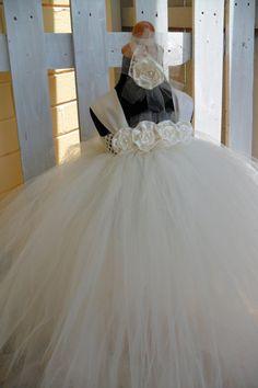 Flower girl dress, Flower Girl Tutu Dress Tutu Dresses Ivory Flower Girl by gurliglam, $65.00