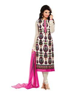 Cream & Pink Long Straight #SalwarKameez, #DressMaterial
