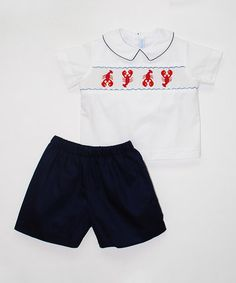 Look what I found on #zulily! White Lobster Smocked Top & Navy Shorts - Infant, Toddler & Boys #zulilyfinds