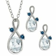 1.66 Ct Oval Sky Blue Aquamarine Gemstone 14k White Gold Pendant Earrings Set Gem Stone King. $324.99