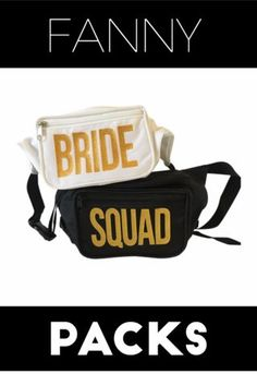 Looking for a unique bachelorette party favor? Your bridesmaids and team bride will love these Bride Squad fanny packs. Whether you're relaxing by the beach, or rocking it in Las Vegas, these waist bags are perfect for any bridal party! Get them today at www.getbachelorettebox.com