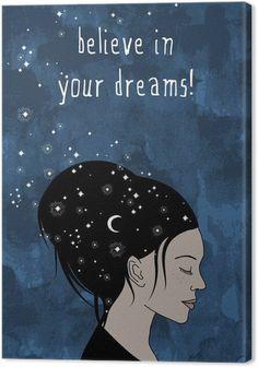 """Obraz na Płótnie """"Uwierz w swoje marzenia!"""" - Wyciągnąć rękę portret kobiety z ciemnymi włosami i gwiazd - Uczucia i emocje"""