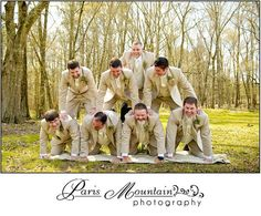 *would be super cute with whole bridal party!!!*  Real Wedding Paris Mountain Photography groomsmen wedding group photos Foxwoods fun poses