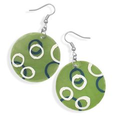 Here is a pair of unique, brightly colored fashion earrings that are guaranteed to be noticed and admired whenever they are worn! These brand new silver tone french wire fashion earrings feature a 35 millimeter green colored shell with a hand painted circle design! With a total overall hanging le...