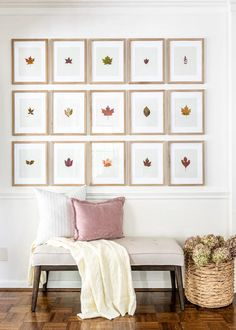 An entryway decorated with a budget-friendly way to use leaves and flowers from your backyard for free art and decor.