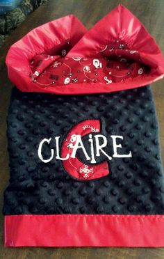 OU Sooners University of Oklahoma Baby Blanket in Minky and Bandanna Cotton. $49.00 Lefthanded Lady