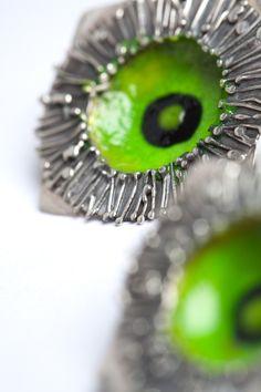 Earrings With Green Enamel