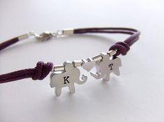 Elephants Jewelry Bracelet Silver Charms Initialized by LycheeKiss, $26.00