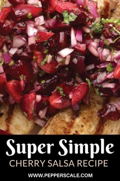 This super simple cherry salsa recipe takes minutes to whip together, and the taste is phenomenal. The rich tartness from the cherries shifts into overdrive with the jalapeño heat. #cherrysalsa #cherrysalsarecipe #salsarecipe #salsa #cherries #hotpeppers #jalapeno