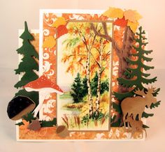 Card by DT member Gudrun with Creatables Mushrooms Acorns and Leaves Elands Spar Den Tiny's Grass and Craftables Tiny's Oak Tree and Punch Die Autumn Leaves by Marianne Design Leaf Cards, 3d Cards, Tri Fold Cards, Folded Cards, Paper Flower Tutorial, Marianne Design, Thanksgiving Cards, Fall Cards, Masculine Cards