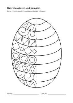 Kindergarten-KigaPortal-Easter Egg-complain and … - Easter Eggs Day Easter Art, Easter Crafts For Kids, Diy For Kids, Easter Eggs, Easter Worksheets, Art Worksheets, Easter Activities, Spring Art, Spring Crafts