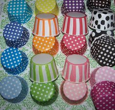 Could use for skittles, m&m's, gumballs, etc. Treat/Portion CupsYou Pick Your Colors Polka Dot by shabbygirl2, $13.15