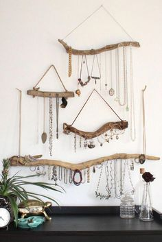 Driftwood Jewelry Organizer - Made to Order Jewelry Hanger - Choose . - Driftwood Jewelry Organizer – Made to Order Jewelry Hanger – Choose the Driftwood – Boho Deco - Jewelry Storage Solutions, Jewellery Storage, Jewellery Display, Storage Ideas, Diy Storage, Necklace Display, Hanging Storage, Diy Jewellery Holders, Diy Necklace Holder
