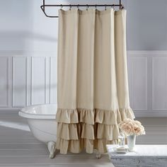 Veratex Linen Vintage Ruffle Shower Curtain - Free Shipping Today - Overstock.com - 20771595 - Mobile