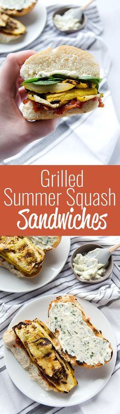 Grilled Summer Squash Sandwiches with Tomatoes and Basil Mayo - A simple flavorful grilled veggie sandwich that is sure to be your new favorite. Veggie Recipes, Lunch Recipes, Whole Food Recipes, Vegetarian Recipes, Healthy Recipes, Summer Squash Recipes, Summer Recipes, Vegan Yellow Squash Recipes, Vegan Lunches