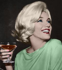 Marilyn having a drink in Mexico.