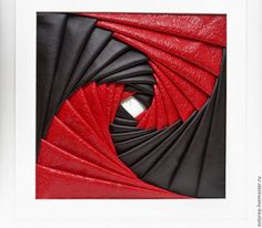 Абстракция ручной работы. Ярмарка Мастеров - ручная работа. Купить Панно в стиле  айрис фолдинг Красное и черное. Handmade. панно