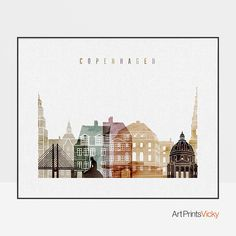 This unique art print of Copenhagen skyline in watercolor warm colors will create a cosy mood in your space. It will be a perfect housewarming gift or an addition for your office decor. The sizes are shown in the SIZE drop below the menu and above the ADD TO CART button and they begin