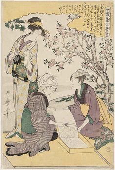 喜多川歌麿 Kitagawa Utamaro 女織蚕手業草_No. 1 from the series Women Engaged in the Sericulture Industry (Joshoku kaiko tewaza-gusa)