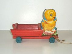 Fisher Price 407 Chick Cart Easter Pull Toy from 1950-1953 courtesy of The Halliburton Collection