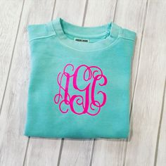 Youth Comfort Colors Monogrammed Sweatshirt, Toddler Comfort Color Monogram Sweatshirt, Kids Comfort Color Monogram Sweatshirt by SimplySouthernChics on Etsy https://www.etsy.com/listing/250446630/youth-comfort-colors-monogrammed