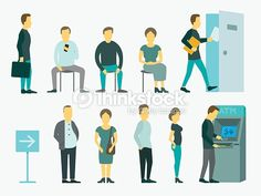 Vector Art : Set with people queue the ATM vector illustration