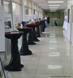 Live auction item displays, all in a row.   #SchoolAuctionIdeas