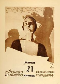 1926 Ludwig Hohlwein Art Deco ad featuring a woman and a violinist