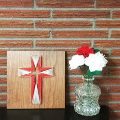 String Art Cross 12x12, Made to Order, Easter Decor, Custom Colors and Wood Finish - TKL Designs