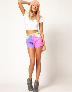 Minkpink Denim Shorts in Neon Block with an ASOS 90's Crop Top is my #ASOSfest pick!