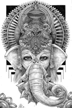 Ganesha by Gustavo Ferrer, via Behance Ganesh Tattoo, Hindu Tattoos, Ganesha Art, Lord Ganesha, Body Art Tattoos, Shri Ganesh, Symbol Tattoos, Mandala Chest Tattoo, Lotus Tattoo