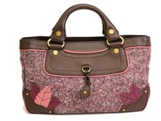 #CELINE Boogie Bag Tote Bag Leather/Tweed Brown/Pink (BF061421) #eLADY