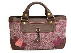 #CELINE Boogie Bag Tote Bag Leather/Tweed Brown/Pink (BF061421) #eLADY