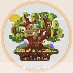 Tree house  Cross stitch pattern