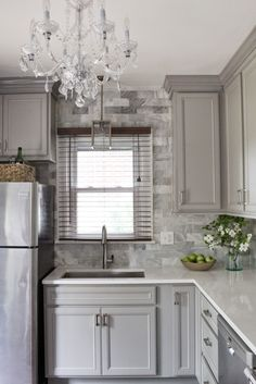 Kitchen Cabinets Remodeling Classic Traditional Gray Gold and Marble Kitchen Renovation - Diamond Cabinets - DIY Before and After Photos Grey Kitchen Cabinets, Kitchen Cabinet Design, Kitchen Redo, New Kitchen, Kitchen Remodel, Kitchen Walls, Kitchen Renovations, Kitchen Floor, Traditional Kitchen Cabinets
