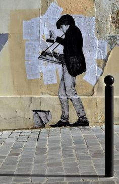 "Street art graffiti collage by Levalet ""Inventory"" New Street Piece - Paris, France"