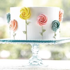 I love this simple cake design! Very pretty, just photo Fancy Cakes, Cute Cakes, Pretty Cakes, Cake Decorating Tips, Cookie Decorating, Cake Decorating For Beginners, Bolo Floral, Floral Cake, Spring Cake